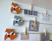 Fox Art Display Clips, Orange or Gray, eco friendly