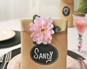 Sets of 8, 9, 10 or 11 Burlap Party Gift Bags with Re-Useable Chalkboard Labels for Party Favors,  Table Numbers