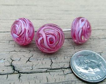 Pink swirl lampwork glass push pins