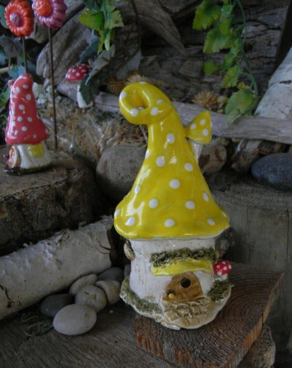 Mushroom Fairy House Miniature Clay Ceramic Pottery Glazed Yellow  Home  terrarium....