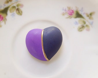Vintage Puffy Heart Brooch. Lavender Purple and Charcoal Gray. Love. Gifts for Her. Gold Tone Metal and Enamel. 1980s. Heart Jewelry. Pin