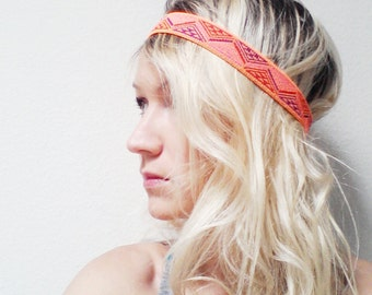 Hippie Headband, Neon, Elastic Headband, Boho Fashion, Hippie Style, Yoga Headband, Neon Orange, Neon Yellow,