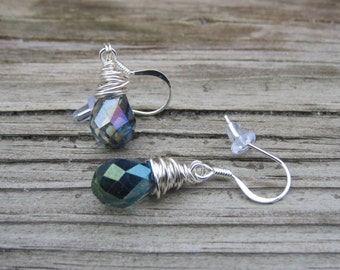 Lavender Crystal Wire Wrapped Earrings.