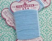 TWO Cards Vintage 30s 40s Mending Thread Clark's Filosheen Cotton Darning Floss Forget-Me-Not Pale Blue lisle stockings hosiery repairs