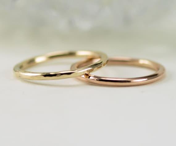 14K Gold Ring -1.6mm Gold Slender Wedding Band or Stack Ring - 14k Yellow, Rose or White Gold