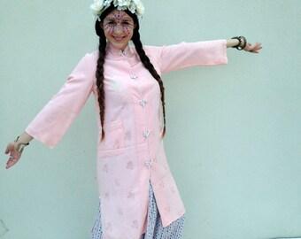 Vintage Kimono Pink Kimono Medium Length Kimono Floral Kimono Size Small Kimono Size Medium Kimono Kimono with Pockets