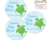 Edit & Print Yourself Favor Tags Instant Download - Honu Swirls Blue