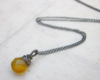 Golden yellow Chalcedony briolette necklace wire wrapped stone necklace dainty sterling silver necklace minimalist jewelry simple jewelry