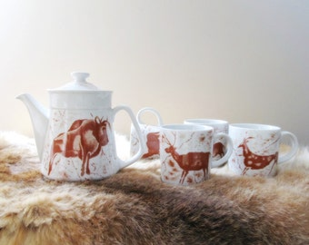 tea set western decor primitive collection cave paintings bison antelope horse primitive collection Shafford china