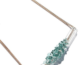 Glass Cluster Bar Necklace - Mini