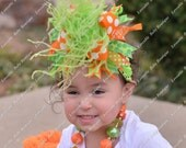 Orange and Lime Green Stripes and Polkadot Over The Top Bow on Matching Headband Free Shipping On All Additional Items