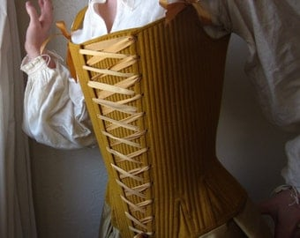 Cavalier 1600s Corset Stays in Linen, Historical 17th Century Restoration Front Lacing Reed Boned Corset, Custom Made to your Measurements