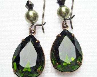 Olive Green Earrings Old Hollywood Jewelry Downton Abbey Sparkle Dangle Earrings Rhinestone Pearl Drop Earrings BELLE Olive