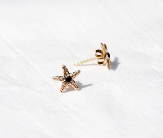 Solid Gold & Black Diamond Tiny Starfish Earrings