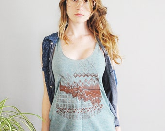 On Sale Astral Tepee Tank - racerback jersey tank - brown - by Simka Sol