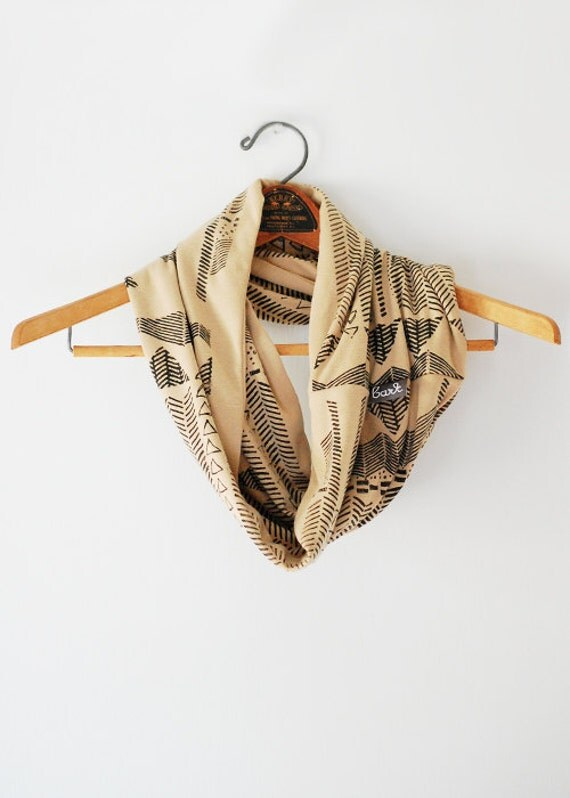 Going Hunting - Black and Camel - hand printed circle scarf - by Simka Sol
