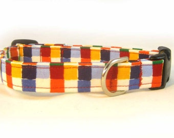 Fabric Dog Collar Rainbow Squares