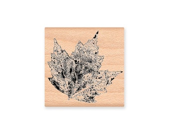 MAPLE LEAF~Rubber Stamp~Weathered Maple~Fall and Autumn Decor~DIY Fall Crafting~Realistic Maple Leaf~Original Art Stamp~wood mounted (41-27)