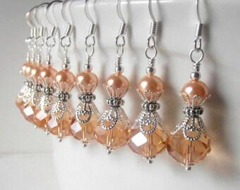 Peach Crystal Earring Bridesmaid Gift Crystal Wedding Earring Peach Bridesmaid Jewelry Beaded Jewelry  Weddings Pearl and Crystal Dangles