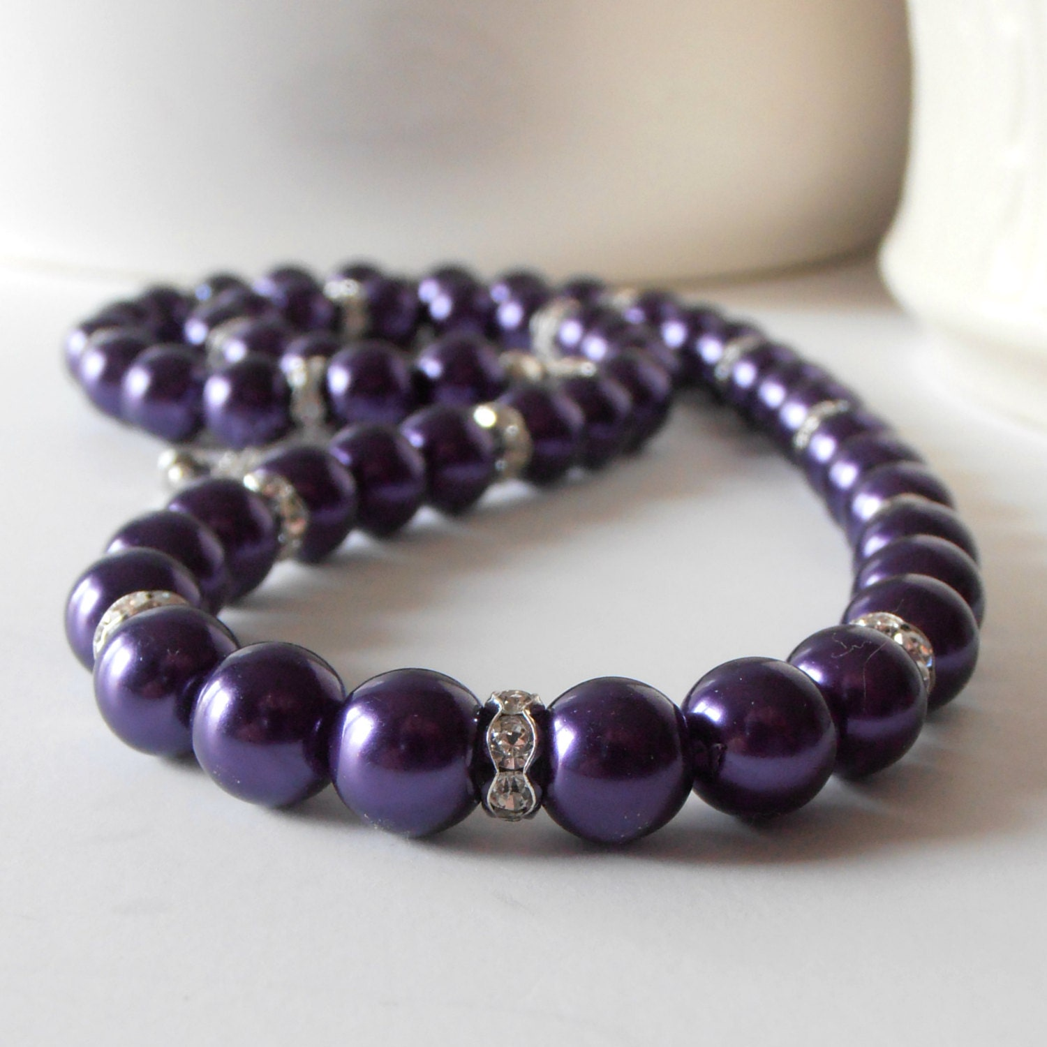 wedding jewelry dark purple pearl necklace bridesmaids