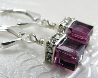 Petite Cube Amethyst Earrings, Purple Drop, Sterling Silver, Plum Swarovski Crystal, Birthstone February Birthday Teen Jewelry Ready To Ship