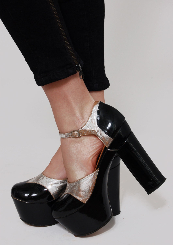 Vintage 70s Platform Shoes Black Patent Leather Amp Silver