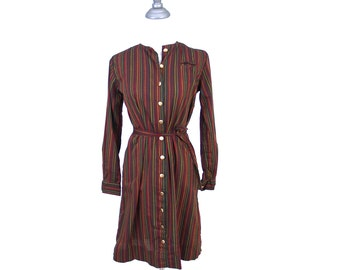 button down vintage XS 60s 70s striped button down dress // matching tie belt 100% cotton // 1960s 1970s extra small red gold olive green