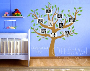 Family Tree decal -  photo frames - nursery decor - tree wall decal - photo frame tree - big family tree - nursery tree vinyl - foyer decor