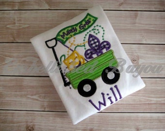 Mardi Gras Wagon Appliqued T-shirt for Boys or Girls