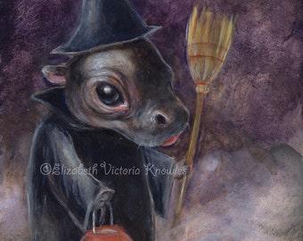 Halloween Witch Art, Halloween Art, Baby Hippo Print, Cute Art, Pop Surrealism, EVK