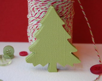 Large Christmas Pine  Tree in Parakeet Green -- Set of 15 -- Punch-Tree Tag-Paper Ornament-Earring Card-Gift Tag-Place Card- Ready to Ship