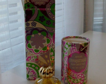 NEW Precious Pair Unforgettable Perfumed Talc and Cologne by Avon (Code d)