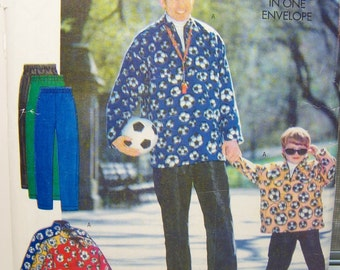 Butterick 5709 Easy Father & Son Sewing Pattern, SALE  Loose Fitting Pullover Top, Elastic Waist Pants, Men's and Boy's Sportswear Pattern