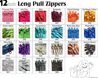 Zippers - 12 Inch 4.5 Ykk Purse Zippers with a Long Handbag Pulls Mix and Match Your Choice of 25 Zippers- New Colors Added-