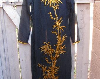 Vintage SILK Vietnamese Dress Ao Dai Dress Long Black Gold Dress Cheongsam Asian Dress
