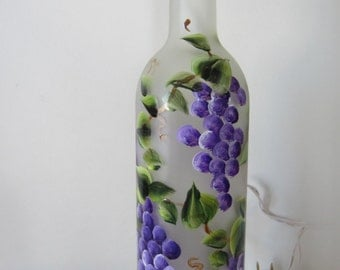 Grape Lighted Frosted Wine Bottle
