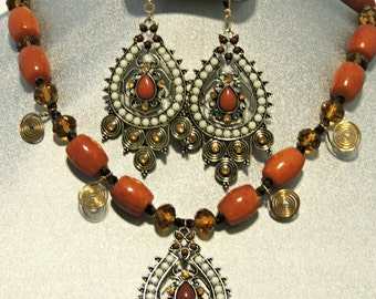 Tibetian Goddess Tribal Style Crystal and Agate Necklace and Earring Set.  Free Shipping within US.