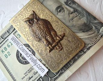 Brass Owl Money Clip Steampunk Money Clip Gothic Victorian Owl Vintage Inspired Antiqued Brass Men's Accessories Men's Gifts