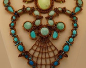 September Song Statement Necklace, Turquoise Blue, Green,  Antique Copper