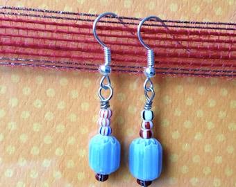 Blue Striped Barrel Beaded Earrings