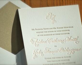 Letterpress Wedding Invitations DEPOSIT Hand Calligraphy Monogram Blush and Gold