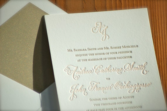Letterpress Wedding Invitations Deposit Hand Calligraphy