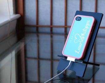 iPhone Case, Personalized Phone Case, Monogrammed Custom Insert + Pink Bumper iPhone 4 Case, iPhone 5 Case