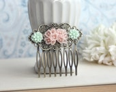 Pink and Mint Flower Collage Flower Hair Comb. Bridesmaids Hair Piece Accessory, Wedding Comb. Bridesmaid Gifts. Junior Bridesmaids. Sister