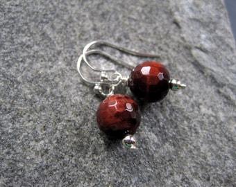 Sterling Silver Tiger's Eye Earrings -  Tiger Eye Earrings - Autumn Earrings - Sterling Silver Brown Bead Earrings - Gemstone Earrings