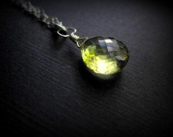 Sterling Silver  Lemon Quartz Necklace - Yellow Briolette Necklace - AAA Gemstone Necklace - Yellow Gemstone Necklace