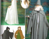 Simplicity 1582 Medieval Hooded Cloak Merlin Gandalf lotr Sewing Pattern Size Mens Misses XS S M L Xl Bust 30 32 34 36 38 40 42 44 46 48