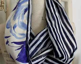 sheer sparkly stripes and roses galore infinity scarf