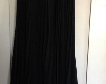 Long Black Asymmetrical Pleated Holiday Flounce Skirt Size Small