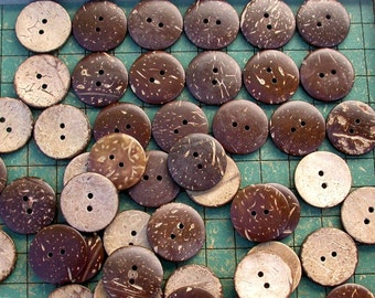 25 Coconut Buttons, 1 inch, aloha shirt buttons, sewing, crafts, scrapbook